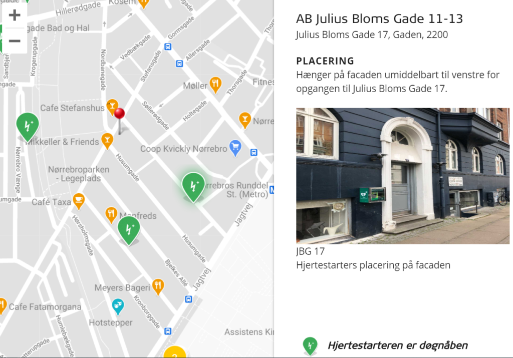 Nærmeste hjertestarter Julius Bloms Gade 17